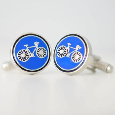 Round Bicycle Cufflinks Red Or Blue